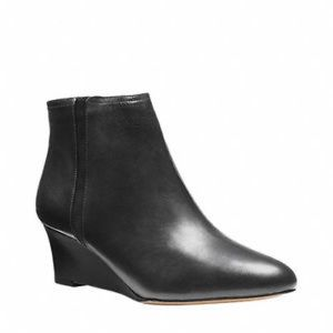 Coach Black Leather Maya Ankle Wedge Booties